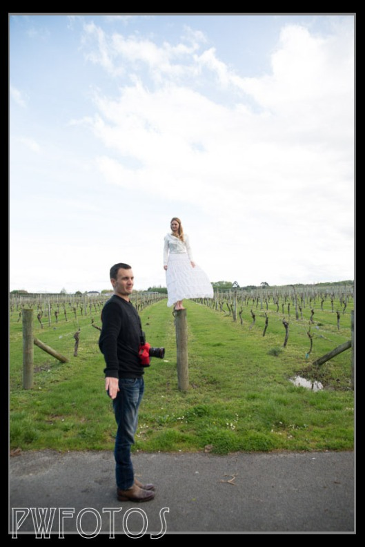 Richard explaining new styles of photos while our model balances on top of a fencepost