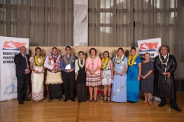 Minister of Pacific Island Affairs Hon Hekia Parata, the seven winners of the 2013 awards and three of the sponsors of the awards.