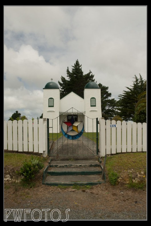 Ratana Churches are fairly distinctive. This was at Te Kana