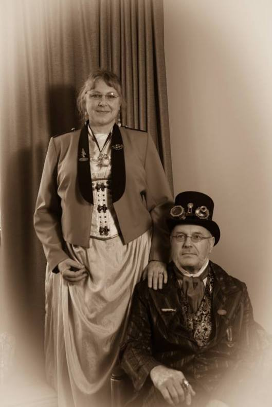 The Colonial and Mrs Hudson from the Wellington Steampunk Group