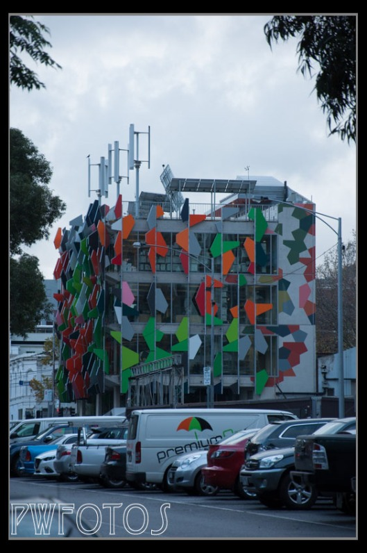 I believe that this is a carpark but the use of external panels turn it into an abstract art object.
