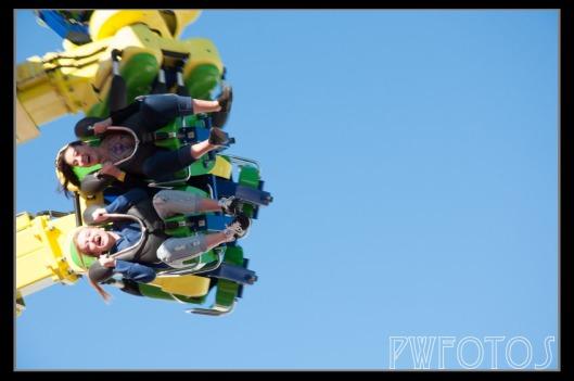 People enjoy the ride at Luna Park