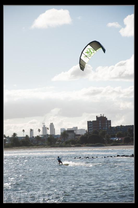 Sunday kite surfing off St Kilda's beach