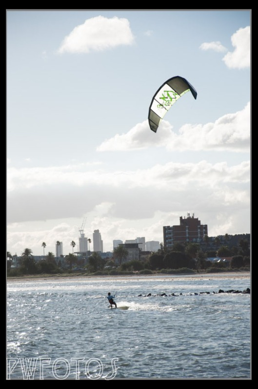 Sunday kite surfing off St Kilda's beach