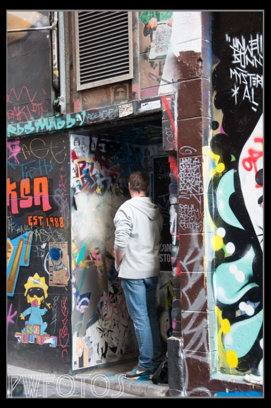 One of the street artists in Hosier Lane