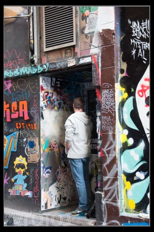 One of the street artists in Hosier Lane