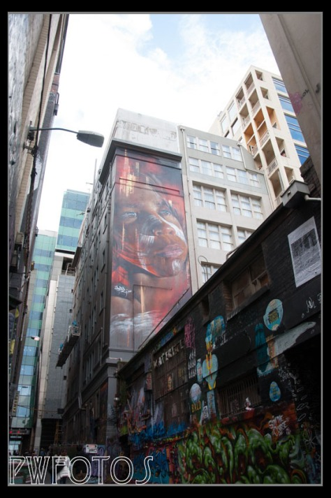 Some of the pieces are very large and are clearly commissioned pieces. This one above Hosier Lane is 4 stories high.