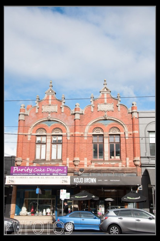 Many of the building in Fitzroy had elaborate facades but you could only see  them from across the road.