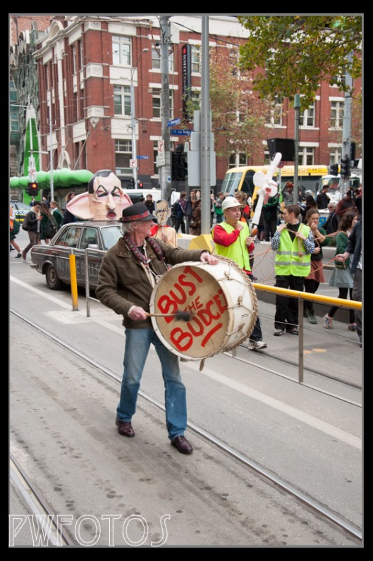 I was held up with a large protest about the Budget. This guy made a lot of noise at the back of the march