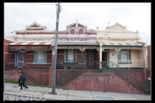 Ornate facades can be see on many buildings. These ones are in the suburb of Seddon