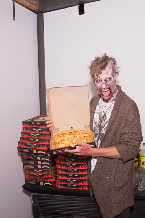 The zombie likes Pizza