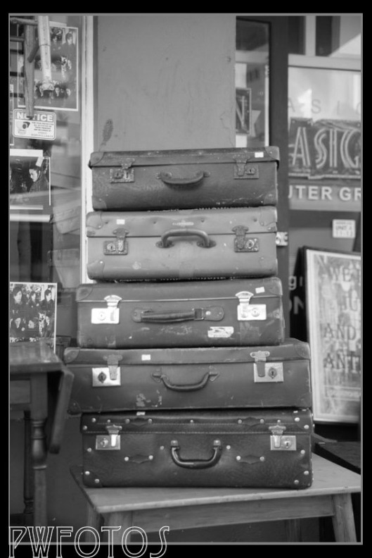 Old suitcase outside a junk shop in Dixon street