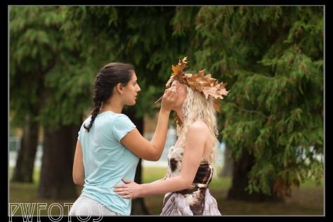 Grace applying a makeup fix to Kat in my Autumn Goddess shoot