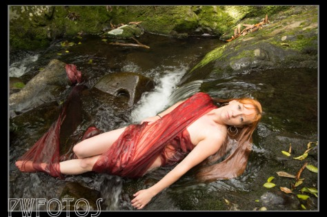 This red organza spread out great, however where it went into the water falls a little flat.