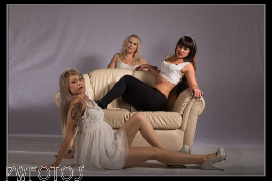 We moved a leather couch onto the set and used that. Kari (rear) quite liked this set up as she could effectively hide.
